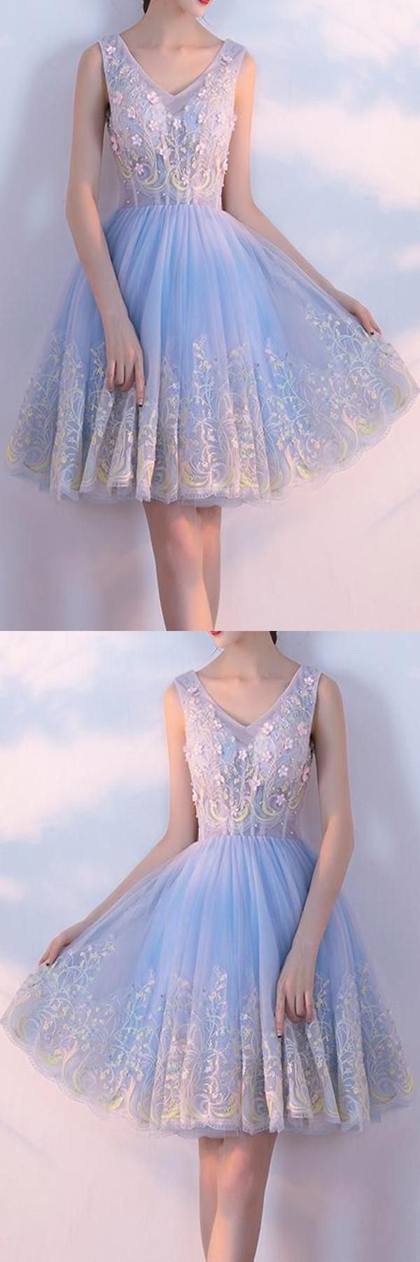 Hot sale dazzling short prom dresses vneck appliques homecoming