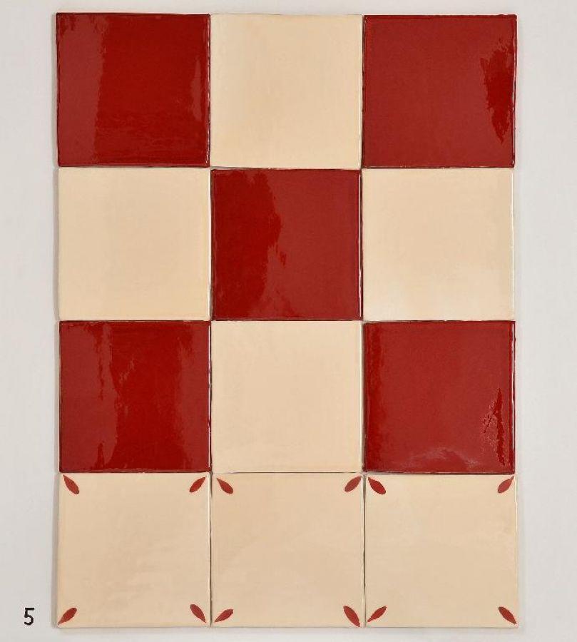 Carrelage 15x15 Damier Rouge 822 Et Beige 206 Decor Petales En