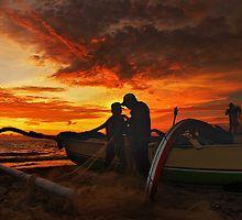 The Fishermen At Sunset by Antoine Dagobert