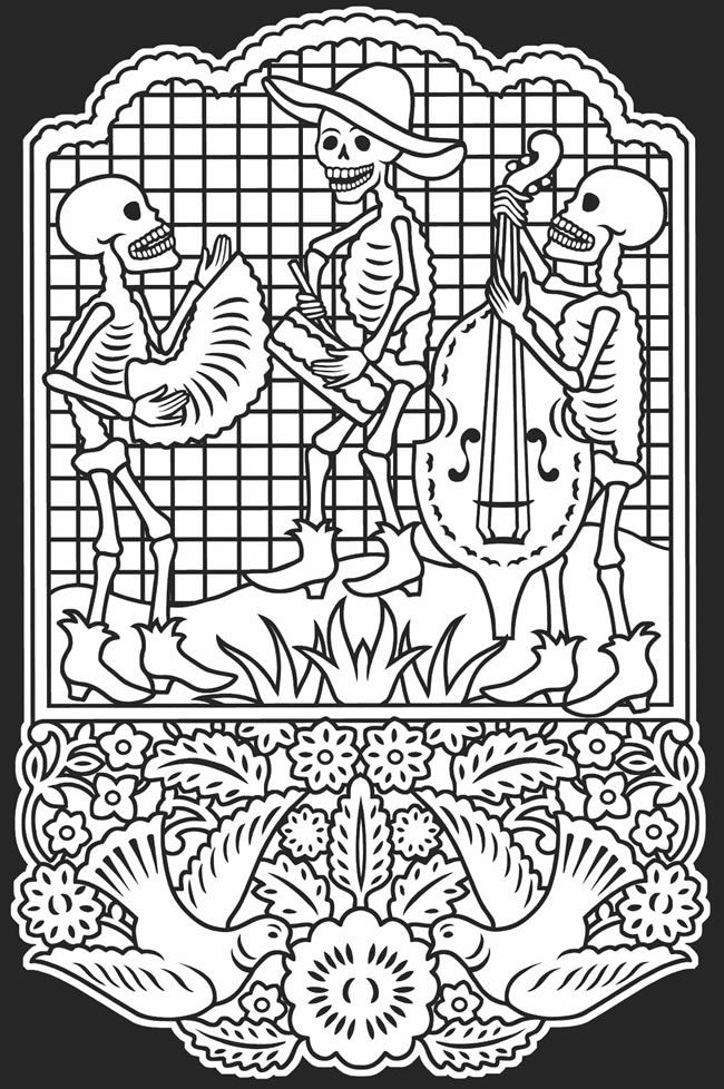 Day Of The Dead Dia De Los Muertos Stained Glass Coloring Book