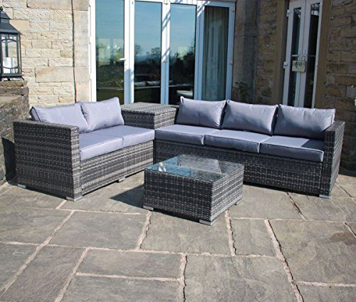 Grey Rattan Outdoor Garden Furniture Corner Sofa with Storage Box. Grey Rattan Outdoor Garden Furniture Corner Sofa with Storage Box