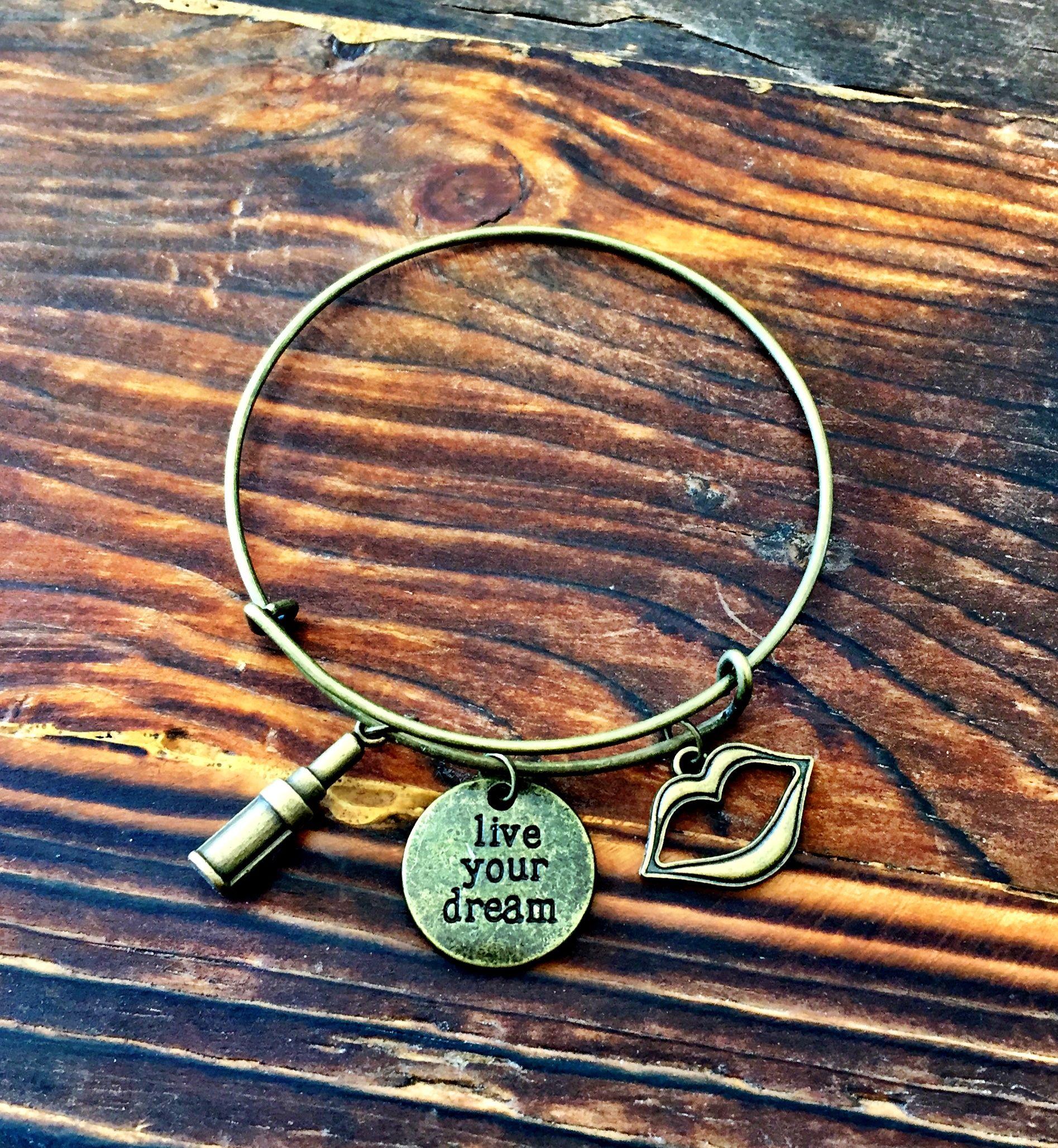 abd5e97b50949 Vintage Gold - Lip Boss/ Makeup Artist Charm Bracelet -$12 www.etsy ...
