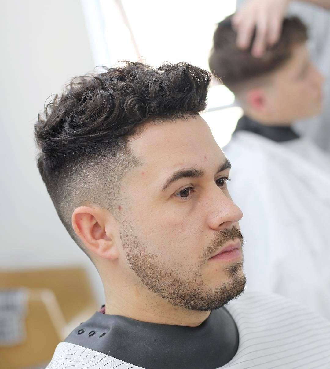 Low Fade Messy On Top Mens Hairstyles Short Thick Hair Styles Curly Hair Men