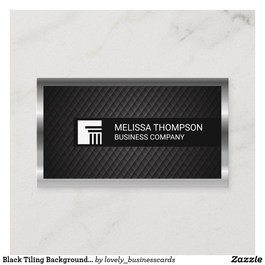 Black Tiling Background Silver Metallic Border Business Card Zazzle Com Professional Business Cards Business Card Design Custom Holiday Card