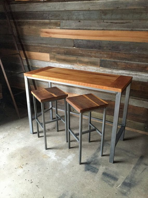 Reclaimed Wood Pub Table With Industrial Metal Base In