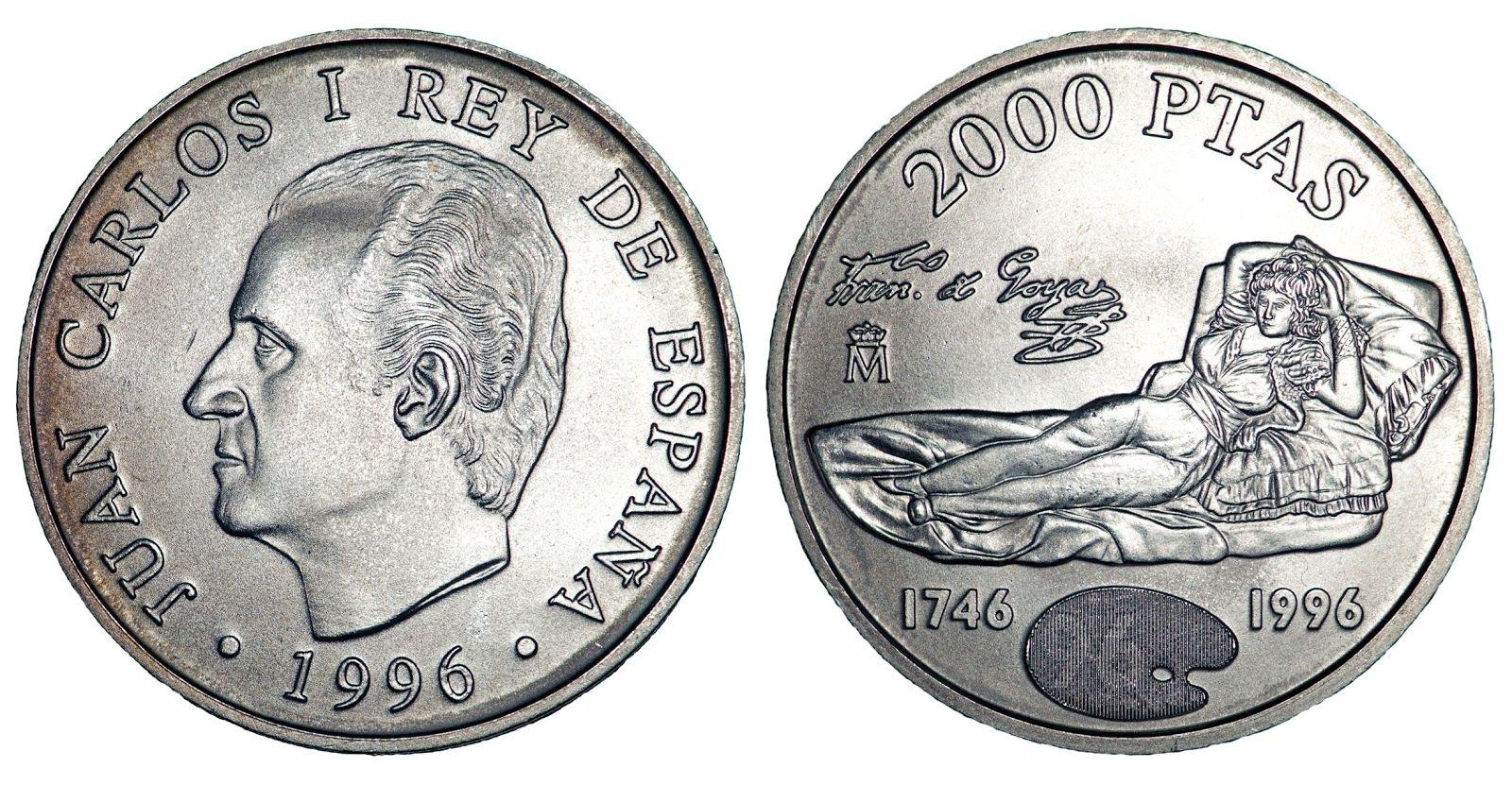 Juan Carlos 1º 2000 Pesetas 1996 Moneda Española Monedas