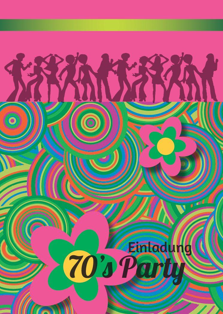 Einladung Zur 70er Party Und Zum Geburtstag Retro Party 70er Jahre Party Flower Power Party Einladungen