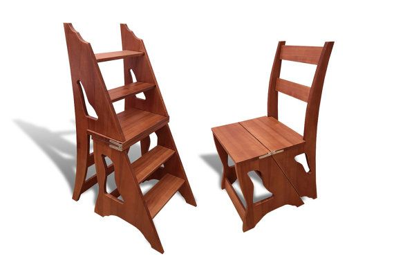 Wood Step Stool Chair Ladder Foot Kitchen