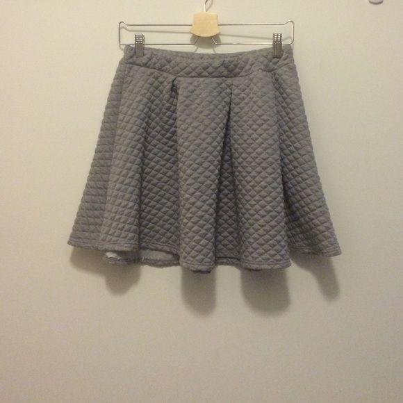 Light grey quilted skirt Light grey, diamond quilting, circle skirt Charlotte Russe Skirts Circle & Skater