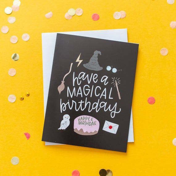 Pack Of 4 Harry Potter Inspired Cards Harry Potter Birthday Cards Harry Potter Cards Harry Potter Birthday