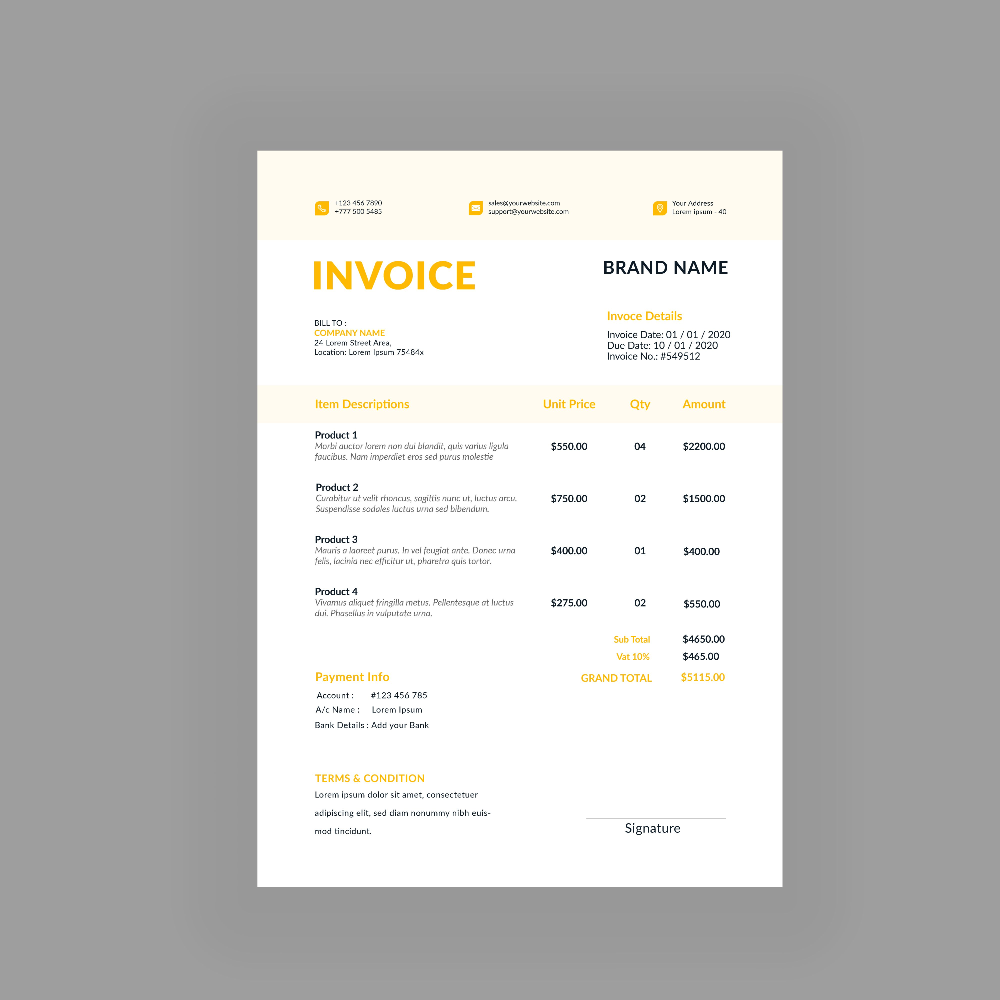 Professional Business Invoice Template Vector Format Voucher Bill Receipt Quotation Sale In 2021 Invoice Template Quotations Templates