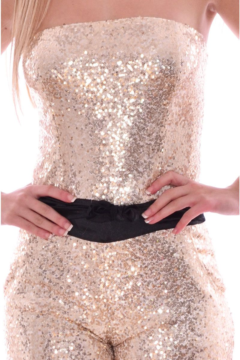Pop Couture - Hedin Sleeveless Sequin Jumpsuit In Gold,