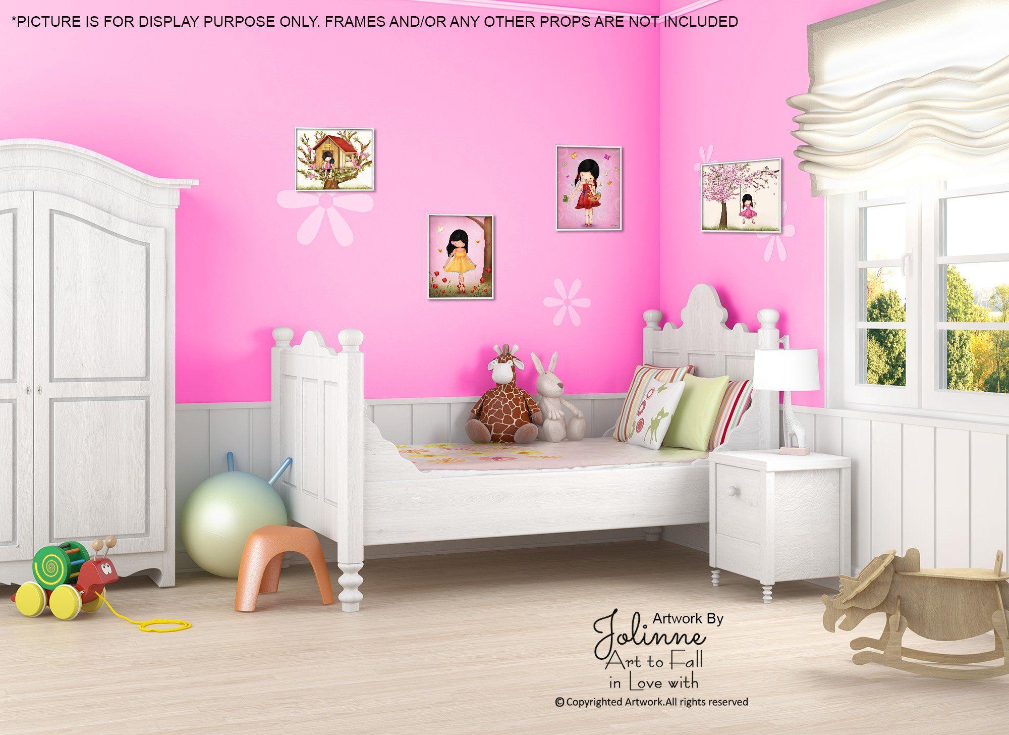 Wall Art For Girls Room Kids Bedroom Decor Pink Nursery