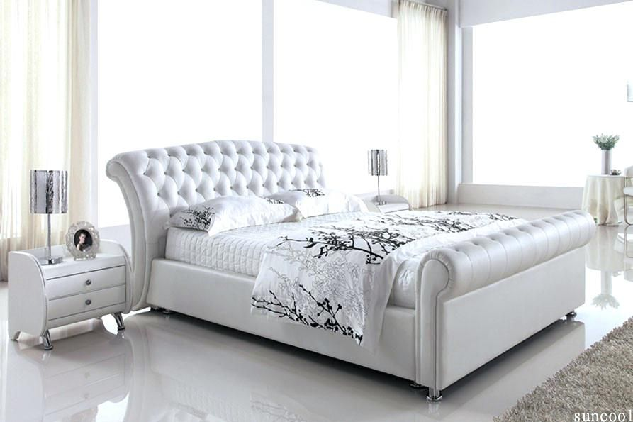 White Queen Bed Frame Leather Size Platinum Nz | Spalniy mebel ...