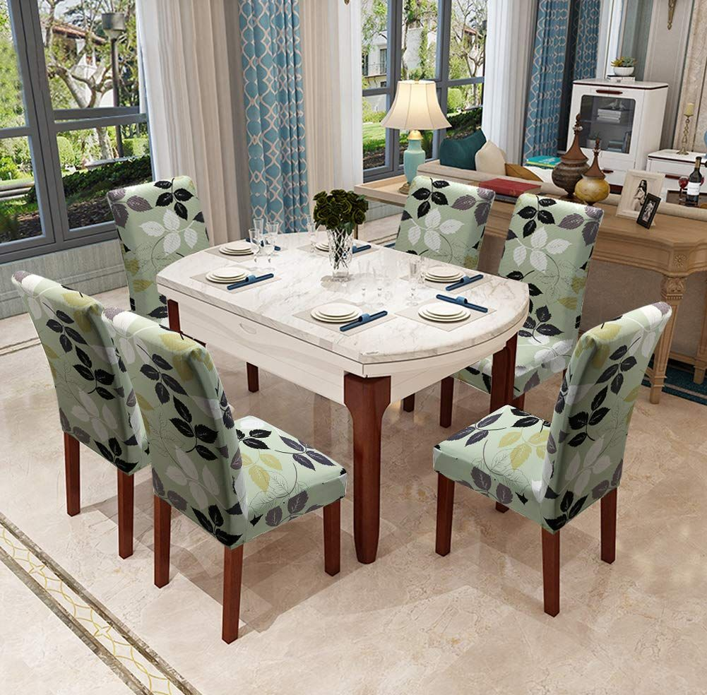 Amazon Com Yisun Modern Stretch Dining Chair Covers Removable Washable Spandex Slipcovers For High Chairs 4 6 Pcs Chai Dining Chairs Dining Chair Covers Chair