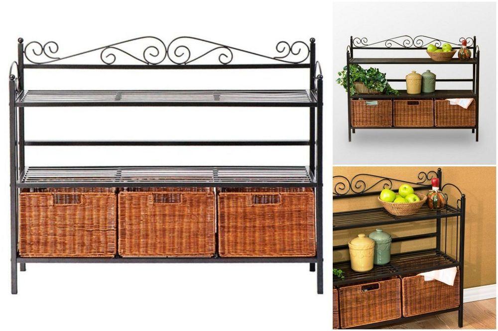 Bakers Rack Furniture Metal Wicker Storage Baskets Shelves Kitchen