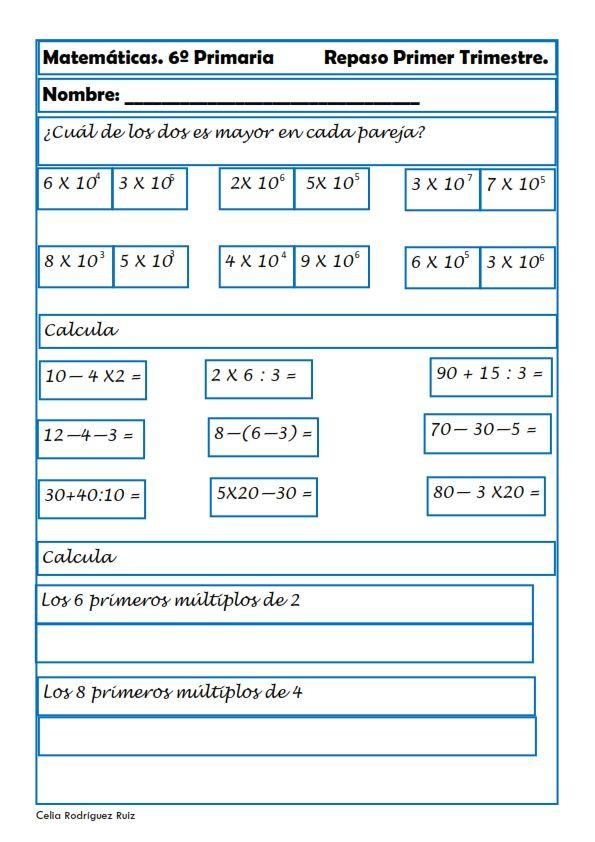 Recursos Para El Aula Ejercicios De Matemáticas Para Sexto De Primaria Cerramos El Repaso A La Primera Matematica Ejercicios Matematicas Primaria Matematicas