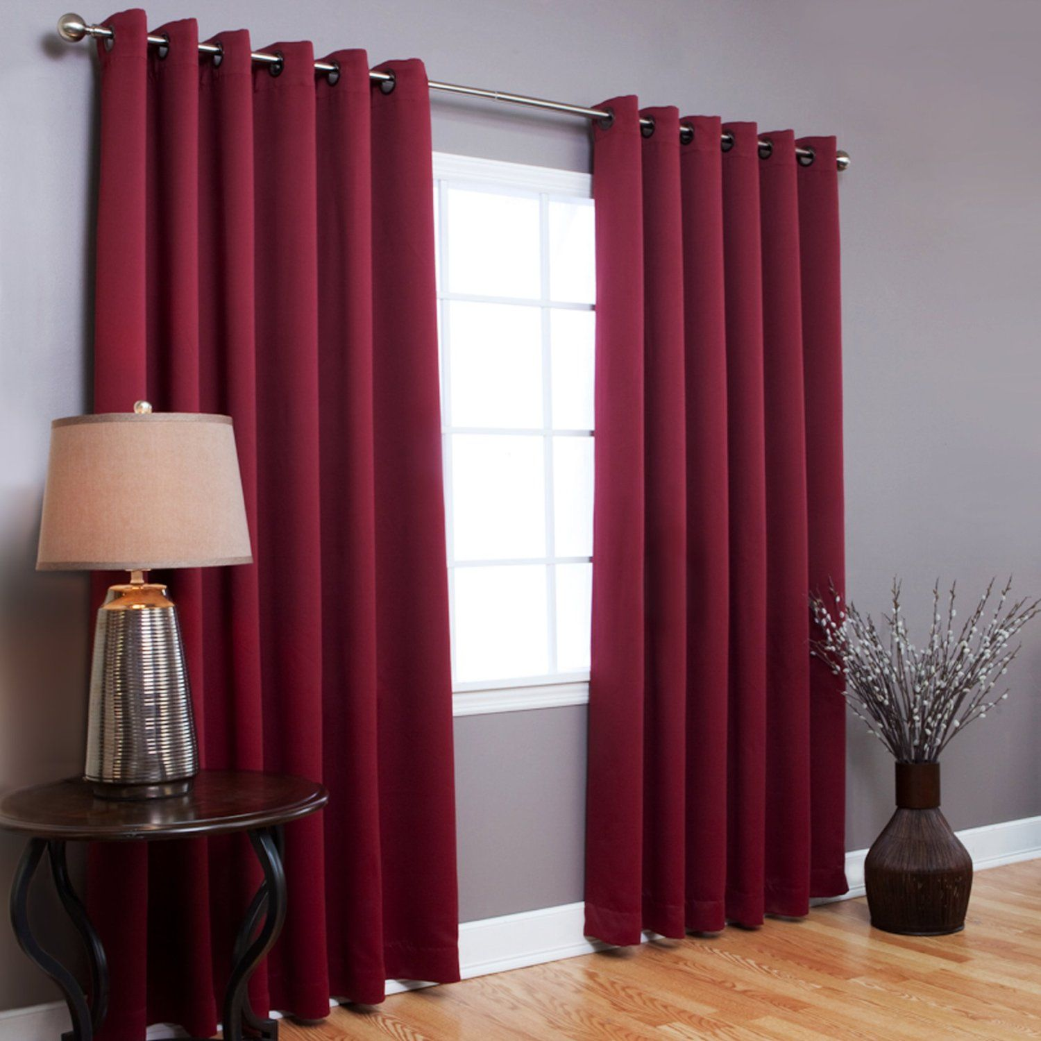 Red Curtains Against Gray Wall Burgundy Living Room Red