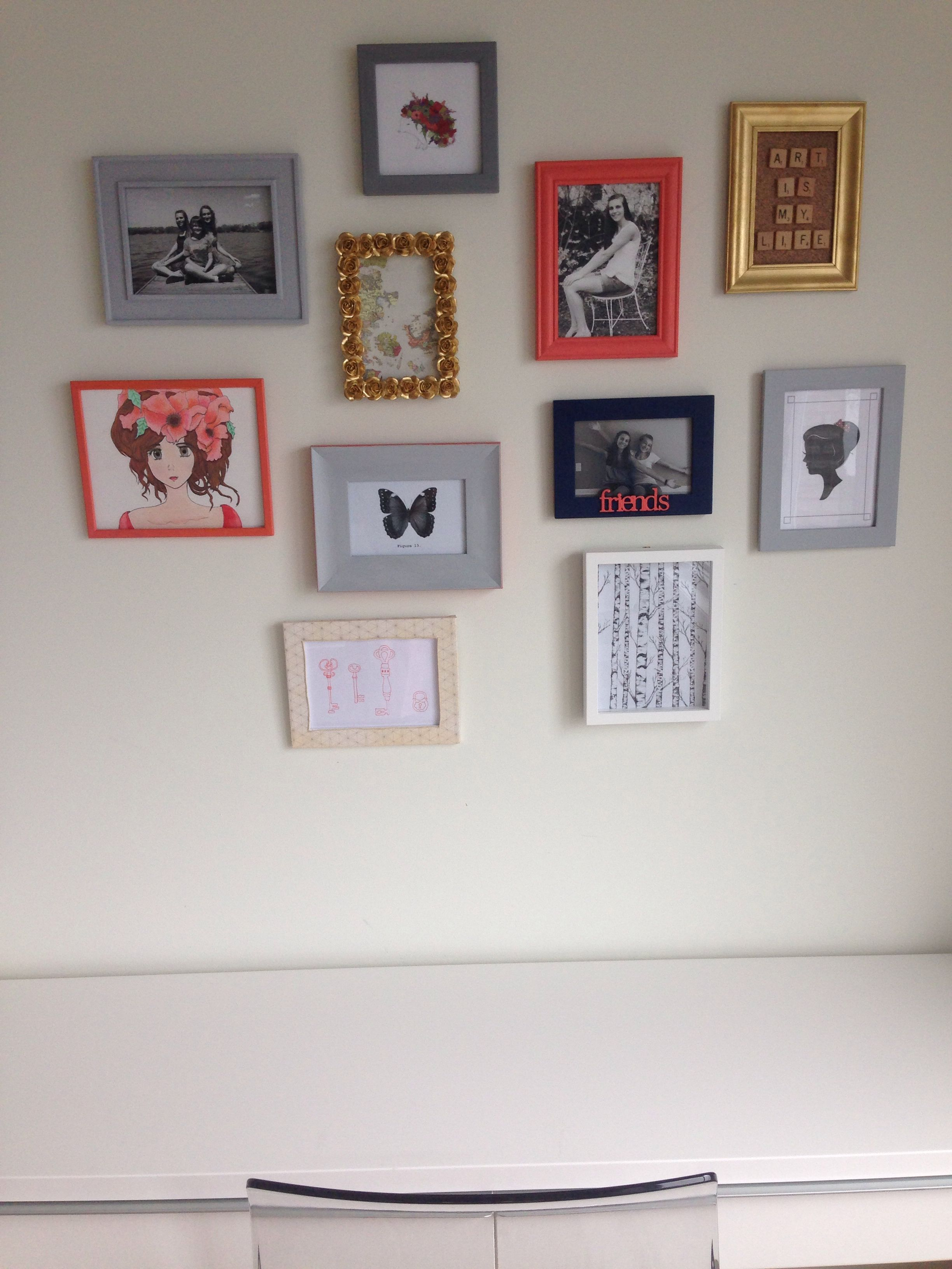 Diy frame wall. Just spray paint/paint frames from salvation army ...
