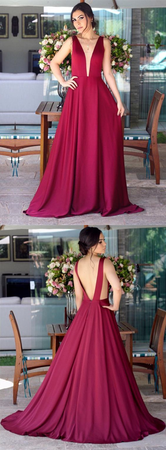 Sexy deep vneck long satin open back bridesmaid dresses