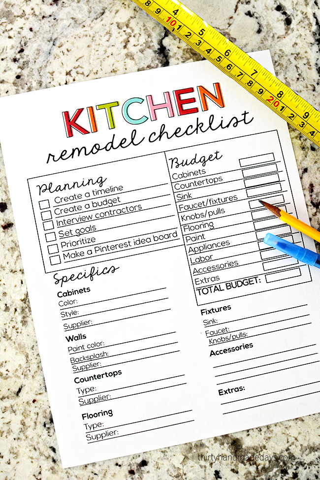 Printable Kitchen Remodel Checklist Dont Forget To Budget For Every Detail Of Your Kitchen Renovation This Free Printable Checklist Will Help