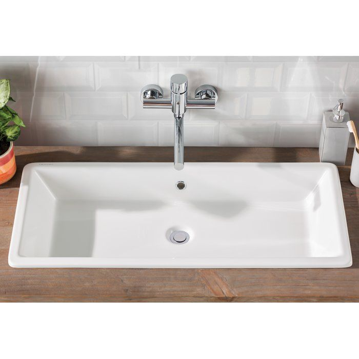 Gaia Ceramic Rectangular Vessel Bathroom Sink with Overflow in 2018