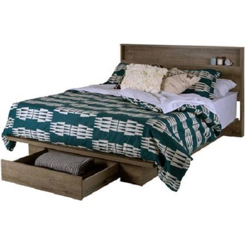 Platform Bed Frame With Front Storage Drawer Also A Shelf In The