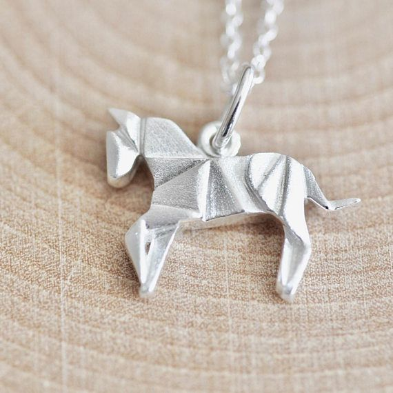 Origami Horse Necklace In Sterling Silver 925 Jewelry