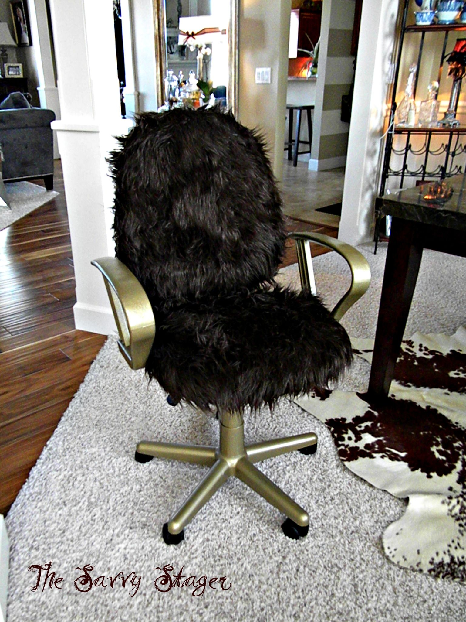 Black Fluffy Desk Chair Office Chair Makeover Chair Makeover Office Chair