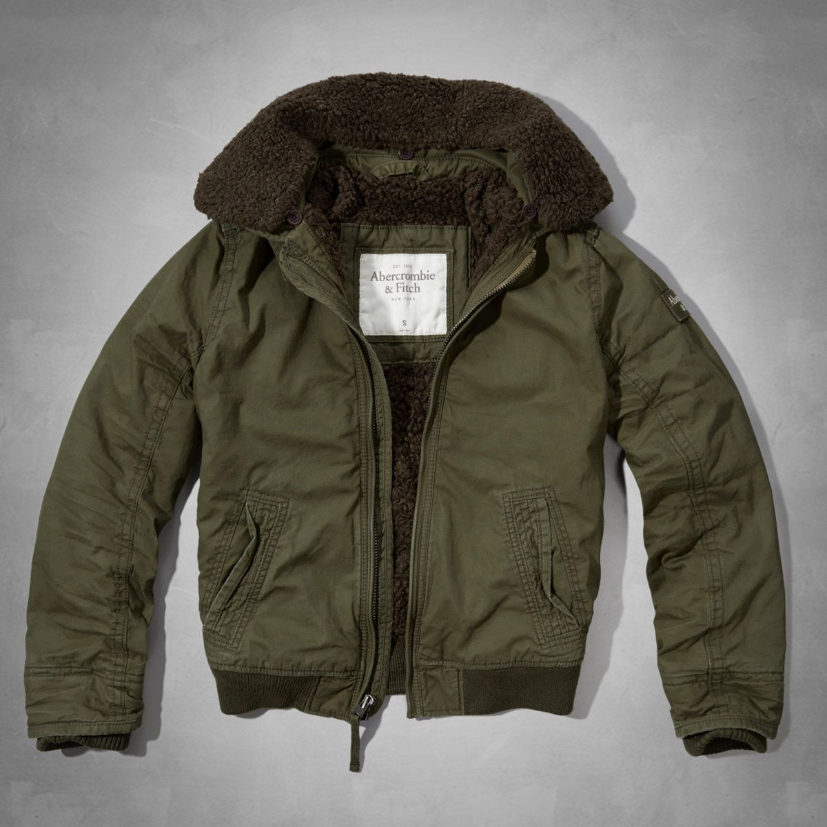 Abercrombie & Fitch Applique Logo Sherpa-lined Hoodie Clearance Olive KOE