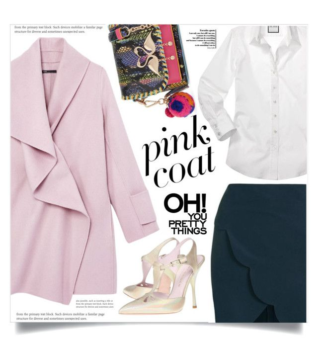 """""""Hey, Girl: Pretty Pink Coats"""" by dolly-valkyrie ❤ liked on Polyvore featuring Vince, Topshop, Kurt Geiger, Sophia Webster and pinkcoats"""