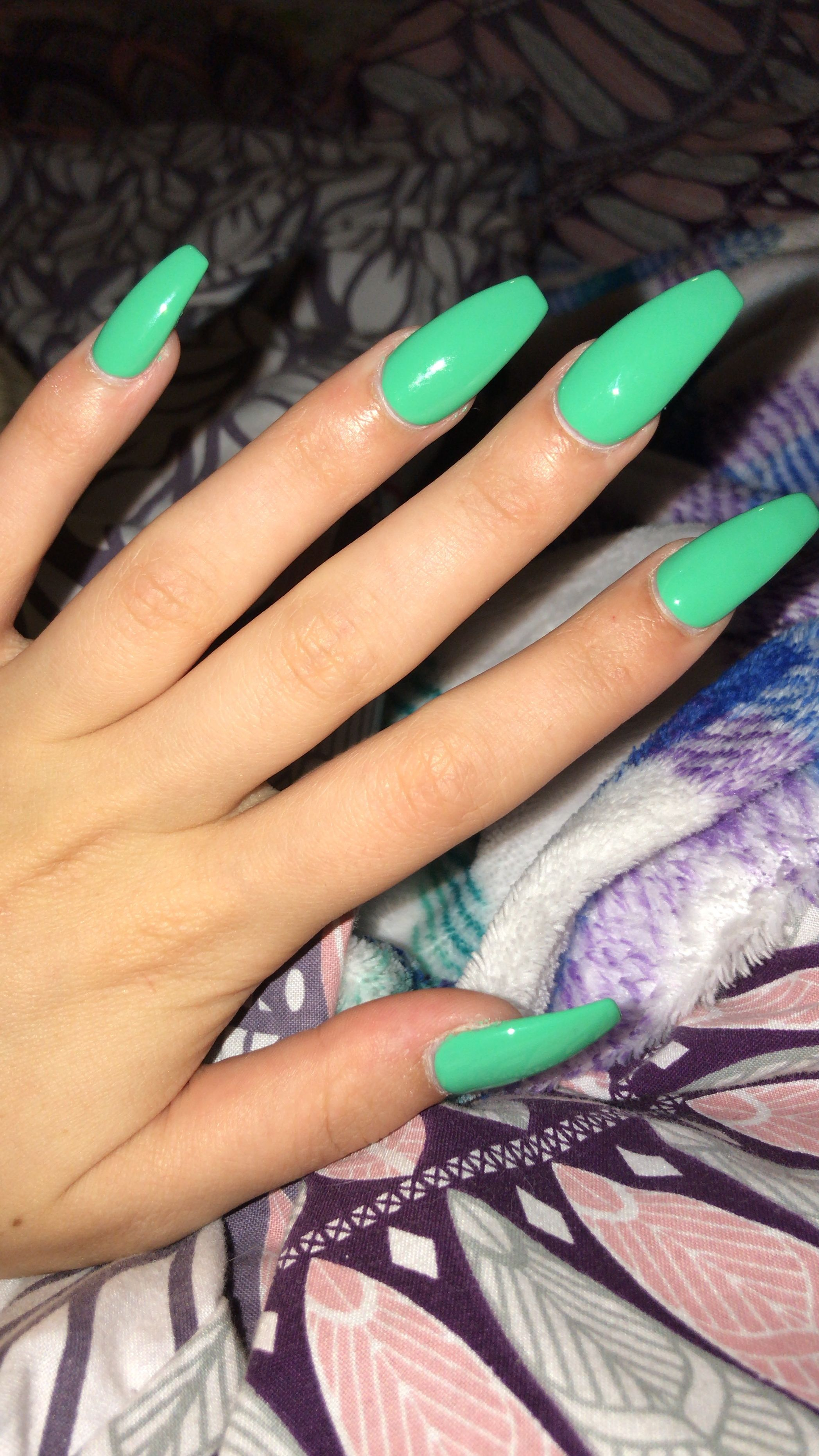 Green Mint Coffin Ballerina Long Acrylic Nails Green Acrylic Nails Mint Green Nails Acrylic Nails