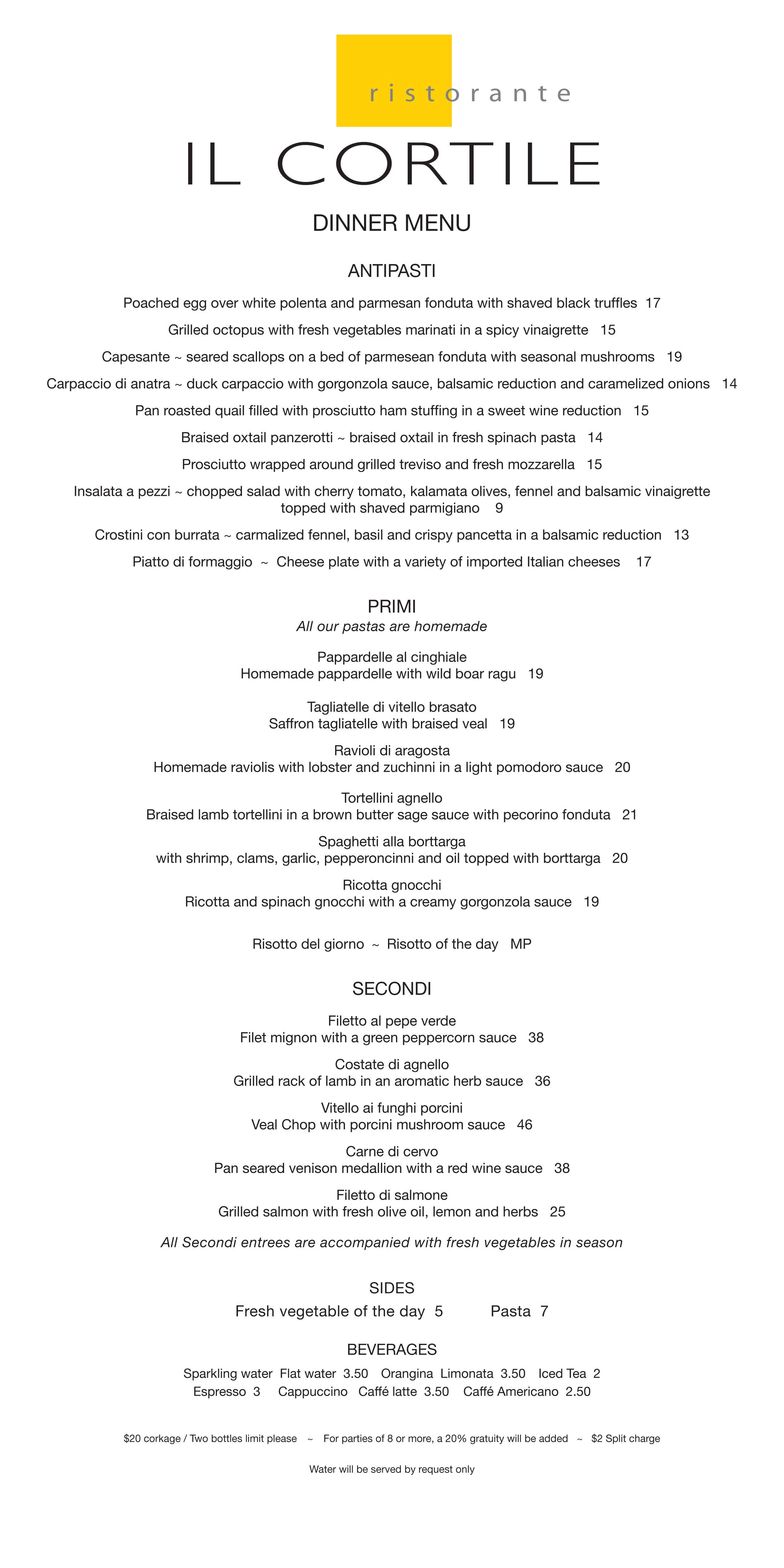 DINNER MENU - Il Cortile Ristorante - Fine Dining Italian Restaurant ...
