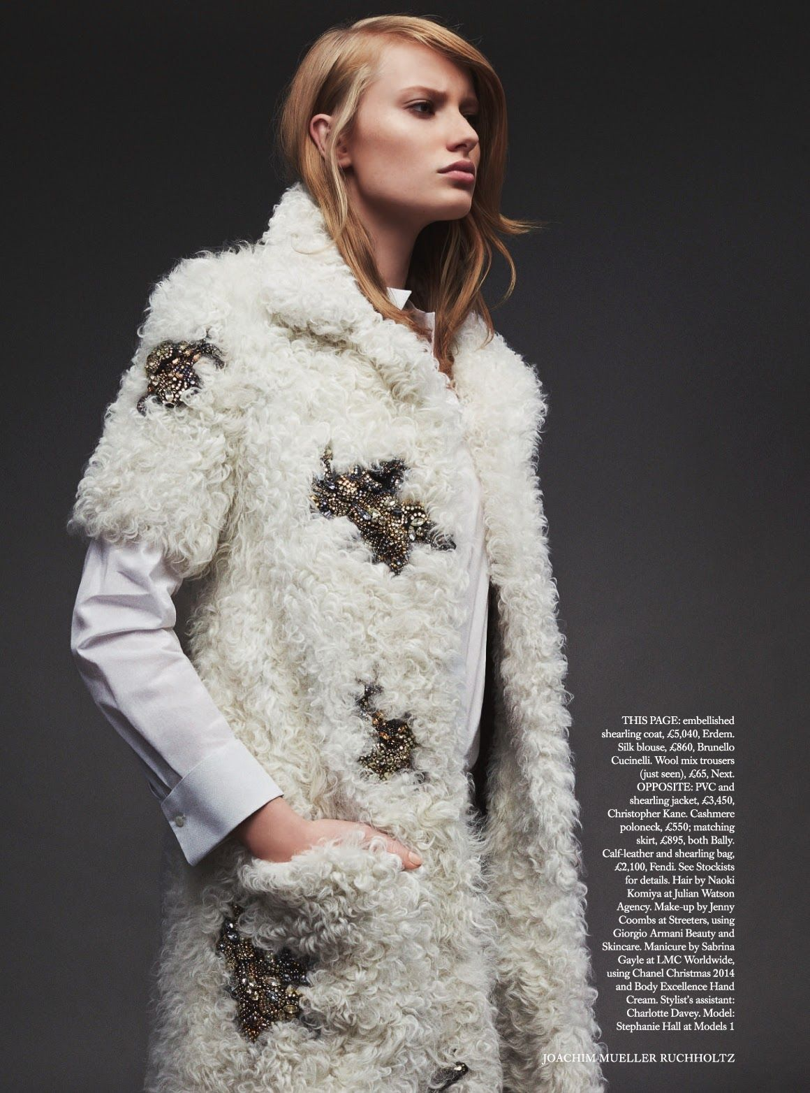 Full Pelt: Harper's Bazaar UK November 2014 Stephanie Hall by Joachim Mueller Ruchholtz ERDEM