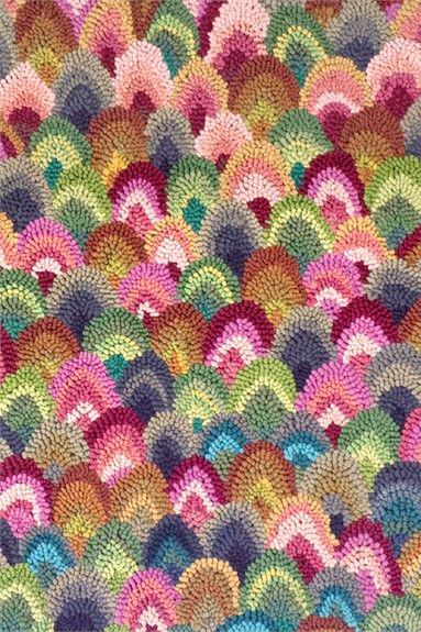 Rainbow Seashell Cotton Hooked Rug