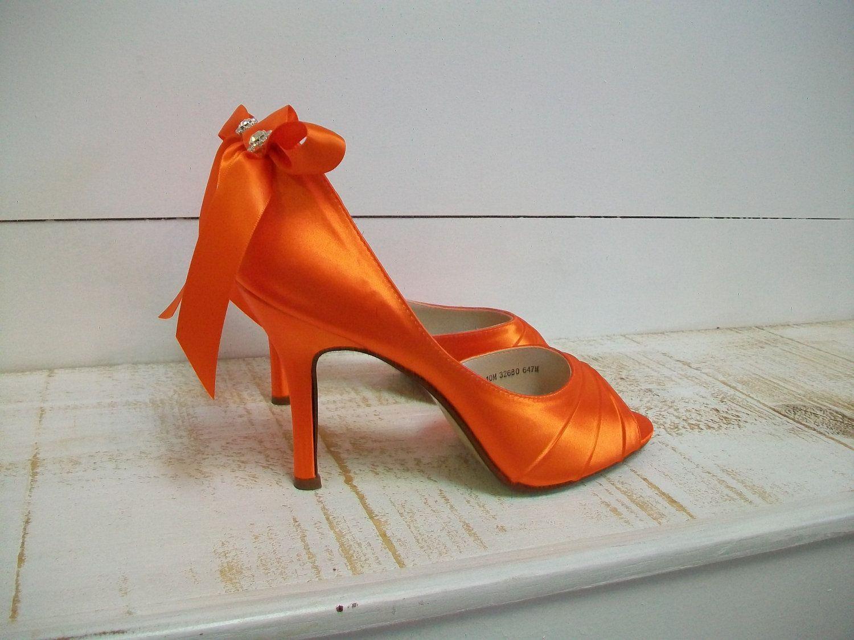 420897261c0cb Wedding Shoes 3.5 Over 100 Colors Orange Shoes Wedding Bride Rhinestone  Crystal Peep Toe Heels Ribbon Bow. $144.00, via Etsy.