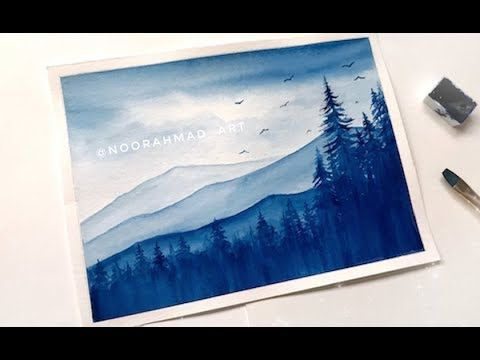 How To Paint Mountains Landscape Watercolor Painting Easy Step By Step Tutorial Sky Tree Youtube Suluboya Cizimler