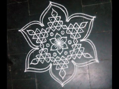 Simple Dotted Kolam With 7 4 Dots For Navarathri Youtube Kolam