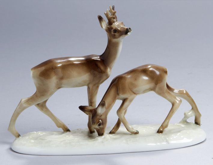 """Porzellan-Tierplastik, """"Rehgruppe-Vertrautes Paar"""", Lorenz Hutschenreuther, Abteilung fürKunst Selb"""