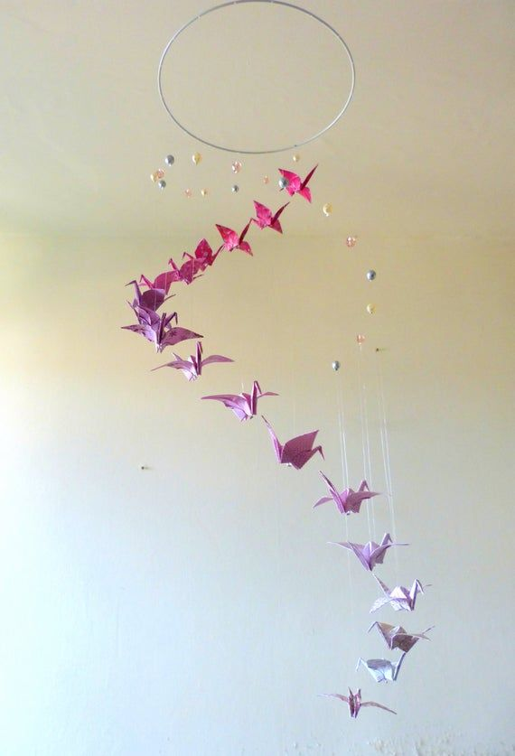 Photo of Origami mobile baby, paper crane mobile for girl, Spirale of bird, pink and white