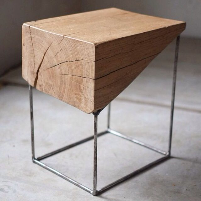 End Table Wood Metalframe Diy Holztisch Diy Holz Und