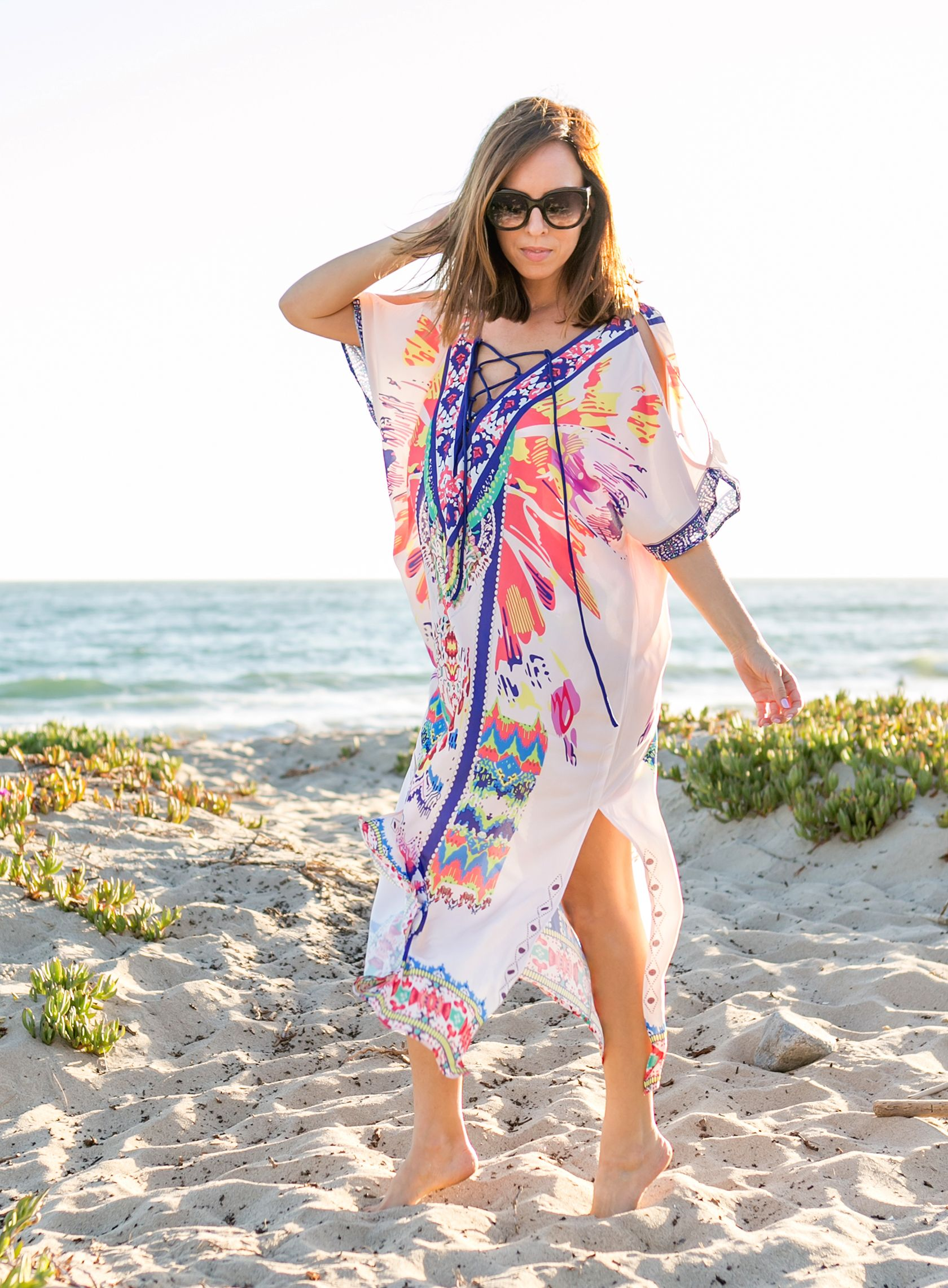 97cf87b16b Sydne Style shows what to wear on a beach vacation in shein printed caftan