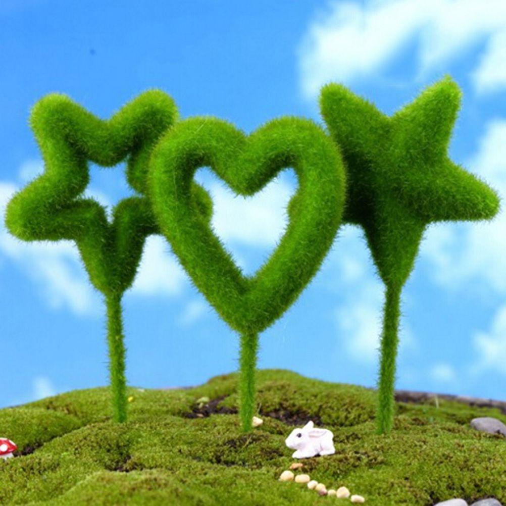 3 Pcs/set Mini Heart-shaped Stick Yard Decor Moss Craft DIY Bonsai ...