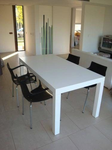 mesa comedor laqueada madera moderna escritorio blanca 1.4 m ...