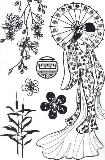 Coloriage japon coloriage japonaise coloriage mode japon - Coloriage japon ...