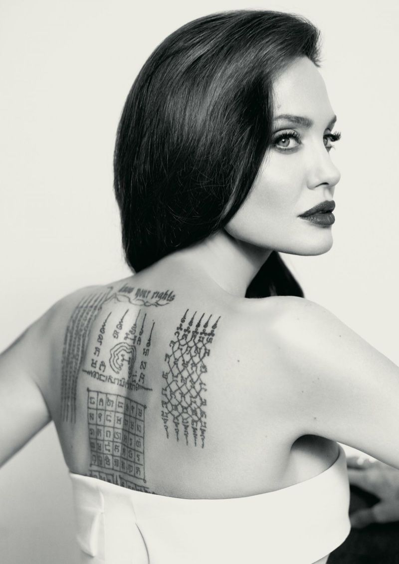 angelina jolie flaunts her tattoos in mon guerlain florale campaign
