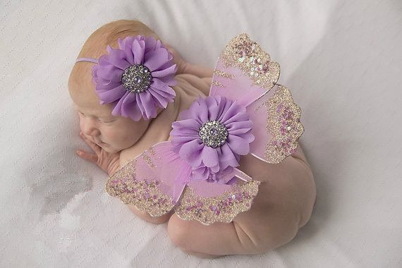 New Design Newborn Photography Props Infant Costume Outfit Butterfly Wings Flower