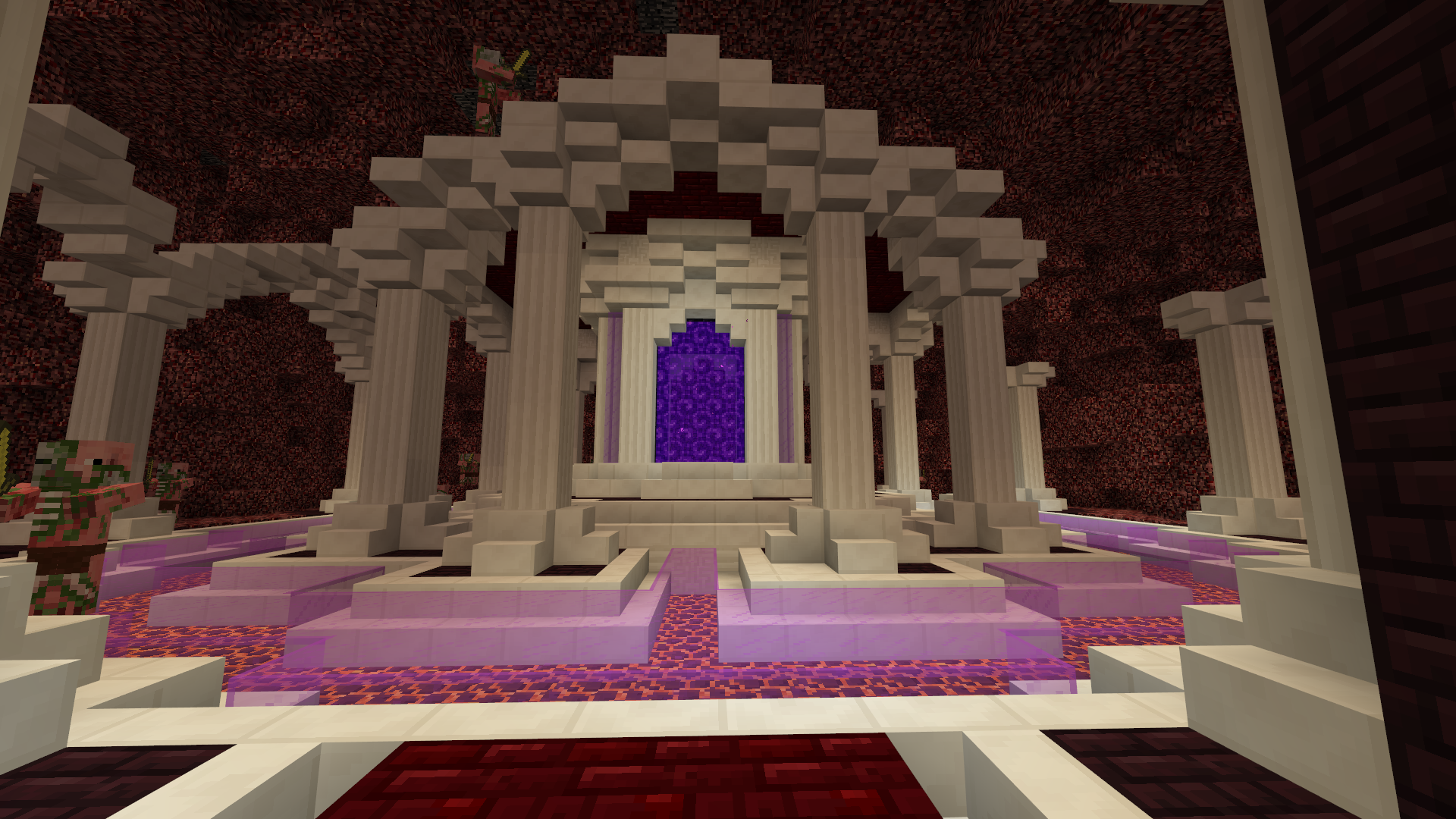 A Work In Progress Nether Hub That I Ve Been Building With The Help Of A Friend Minecraft Construcao De Minecraft Criacoes Minecraft