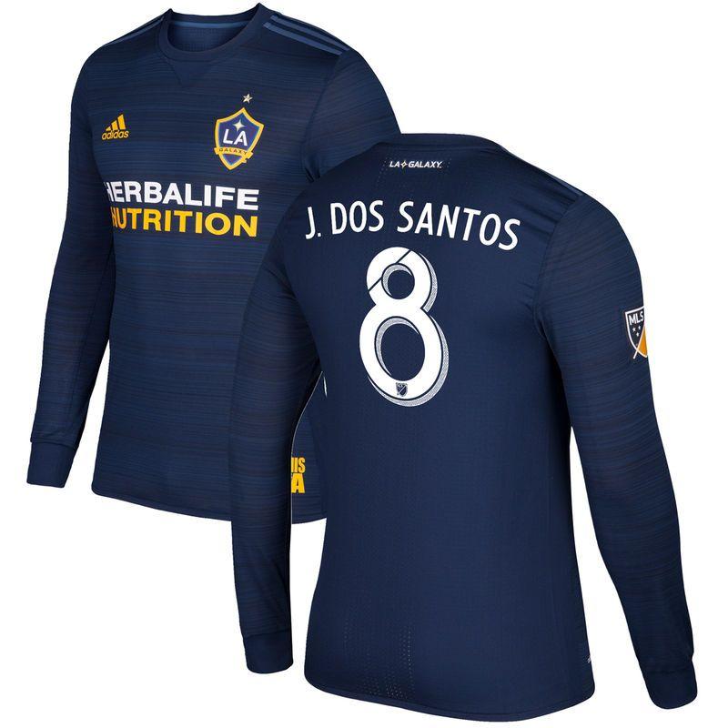 Jonathan dos Santos LA Galaxy adidas Secondary Authentic Long Sleeve Jersey  - Navy 72370747f