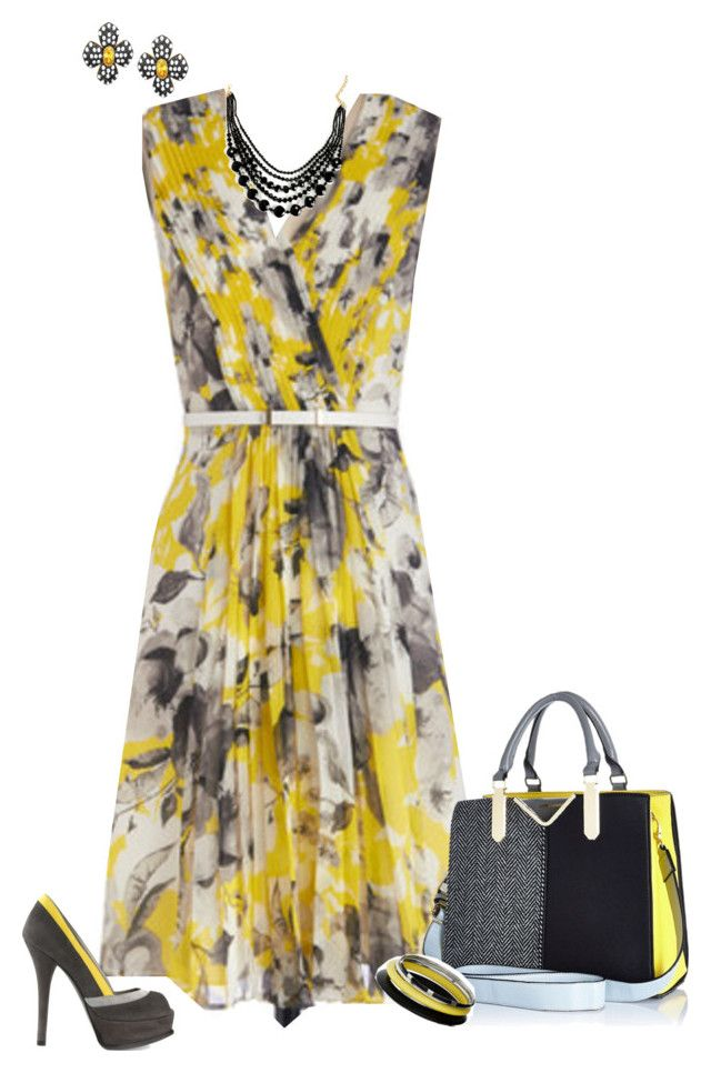 """""""3 colors challenge: Black, Gray and Yellow"""" by kathleensmith-i ❤ liked on Polyvore featuring Kenneth Jay Lane, Fendi, River Island and Dorothy Perkins"""